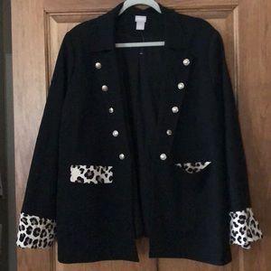 Sassy Chico's black and leopard blazer
